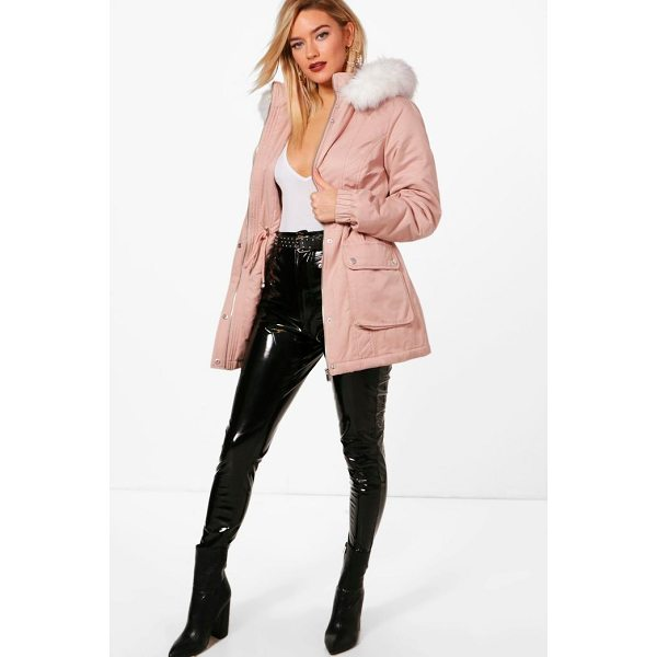BOOHOO Bethany Faux Fur Hood Pastel Parka - Wrap up in the latest coats and jackets and get out-there...