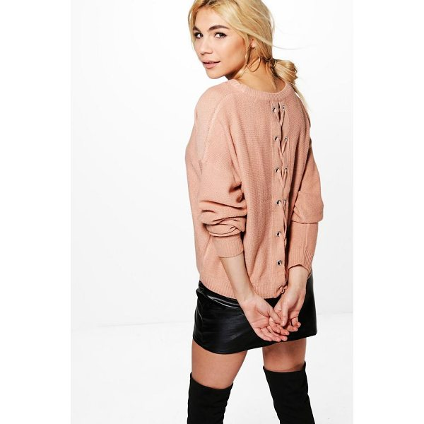 BOOHOO Bethany Lace Up Back Jumper - Nail new season knitwear in the jumpers and cardigans that...