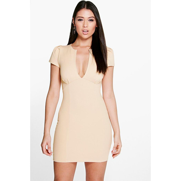 BOOHOO Billie V Neck Cap Sleeve Bodycon Dress - Slip on this pretty dress to add a dash of girlish charm...