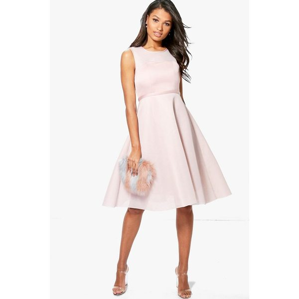 BOOHOO Boutique Aida Mesh Sweetheart Midi Skater Dress - Dresses are the most-wanted wardrobe item for day-to-night...