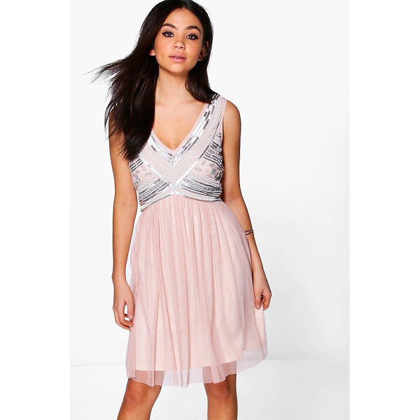 BOOHOO Boutique Aimee Beaded Top Swing Dress - Dresses are the most-wanted wardrobe item for day-to-night...