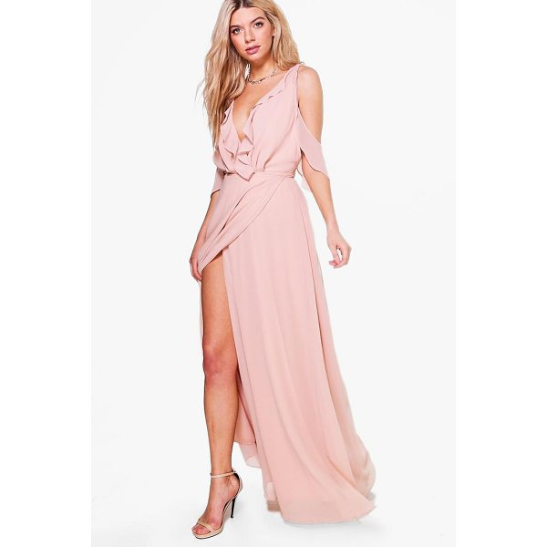 BOOHOO Boutique Alaina Chiffon Frill Wrap Maxi Dress - Spin your way through cocktail hour in our selection of...