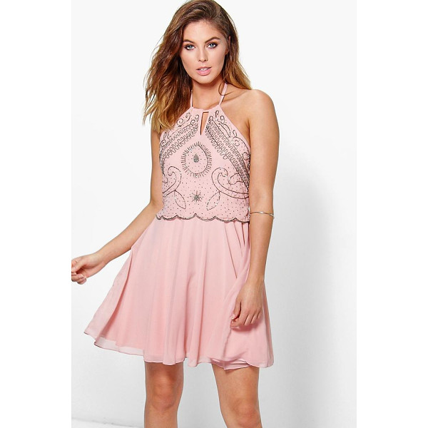BOOHOO Boutique Alessya Embellished Scallop Skater Dress - Dresses are the most-wanted wardrobe item for day-to-night...