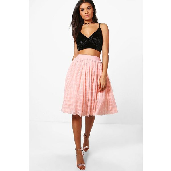 BOOHOO Boutique Amala Grid Tulle Full Midi Skirt - We're all about bringing you fun and flattering shapes to...