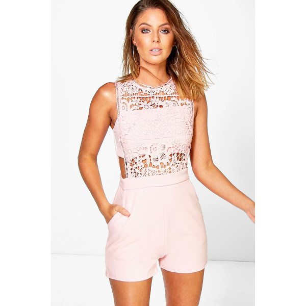 BOOHOO Boutique Amy Crochet Barely There Playsuit - Perfect for day or play, a playsuit will solve your...