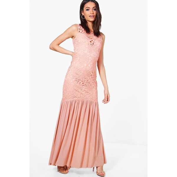 BOOHOO Boutique Anna Crochet Peplum Maxi Dress - Dresses are the most-wanted wardrobe item for day-to-night...