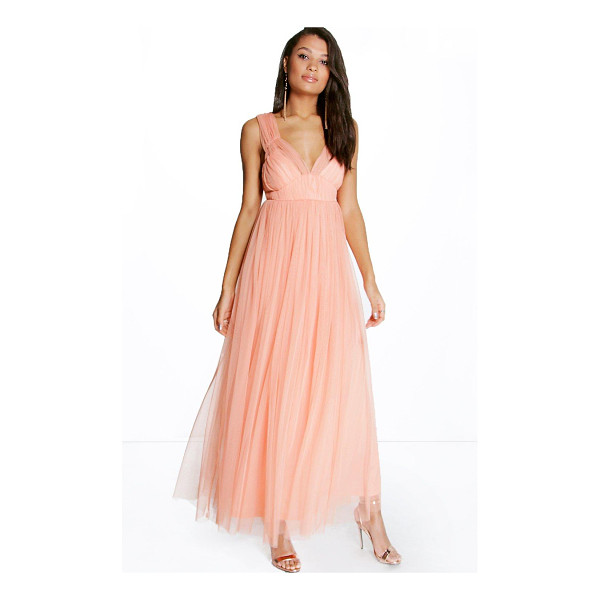 BOOHOO Boutique Anya Seam Detail Tulle Maxi Dress - Get dance floor-ready in an entrance-making evening...