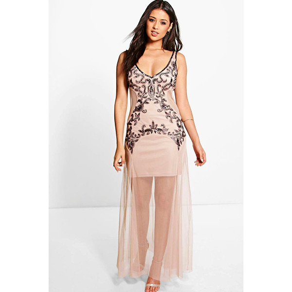 BOOHOO Boutique Ara Embellished Maxi Dress - Boutique Ara Embellished Maxi Dress nude