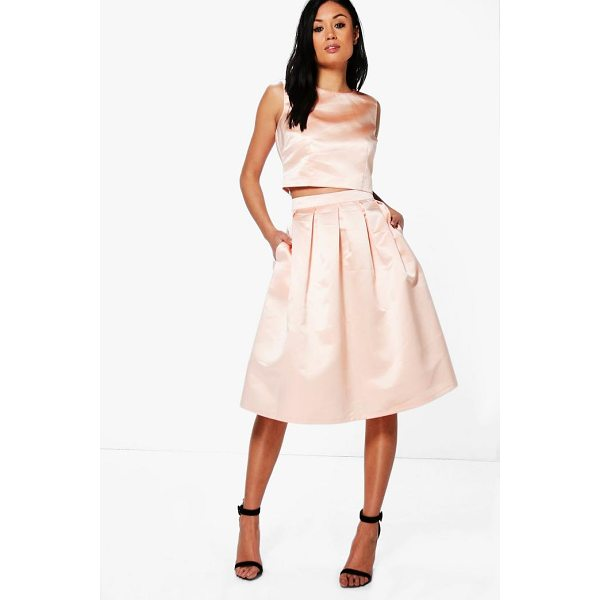 BOOHOO Boutique Arayah Box Pleat Satin Skater Skirt - Skirts are the statement separate in every wardrobe This...