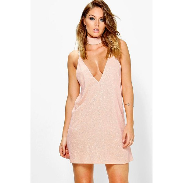 BOOHOO Boutique Ashton Metallic Choker Slip Dress - Dresses are the most-wanted wardrobe item for day-to-night...
