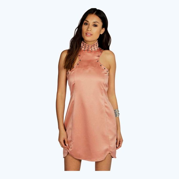 BOOHOO Boutique Audrey Stud Detail High Neck Shift Dress - Dresses are the most-wanted wardrobe item for day-to-night...