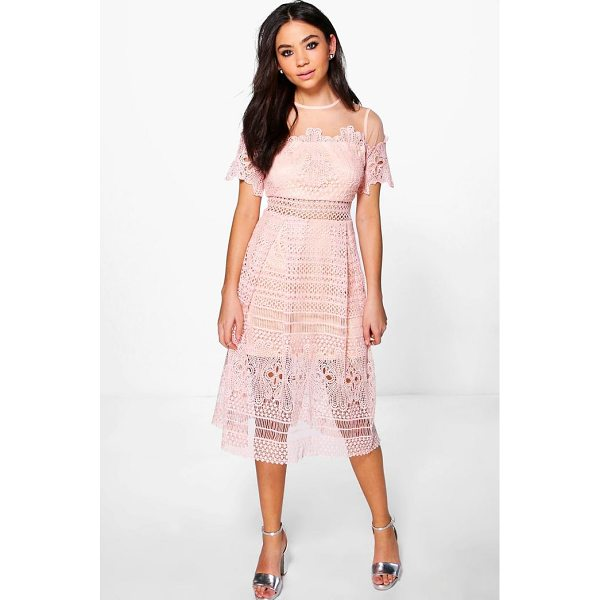 BOOHOO Boutique Cary Lace Mesh Midi Skater Dress - Dresses are the most-wanted wardrobe item for day-to-night...
