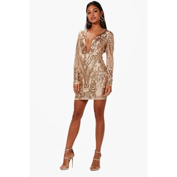 BOOHOO Boutique Christie Sequin Mesh Bodycon Dress - Spin your way through cocktail hour in our selection of...