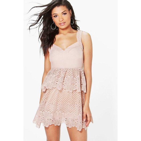 BOOHOO Boutique Corded Lace Panel Detail Peplum Dress - Dresses are the most-wanted wardrobe item for day-to-night...