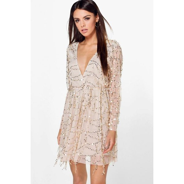 BOOHOO Boutique Dana Sequin Wrap Over Skater Dress - Dresses are the most-wanted wardrobe item for day-to-night...