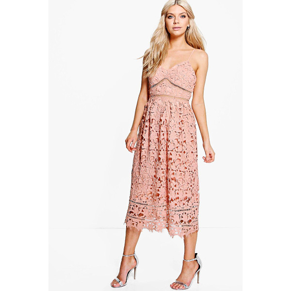 BOOHOO Boutique Dia Corded Lace Midi Skater Dress - Dresses are the most-wanted wardrobe item for day-to-night...