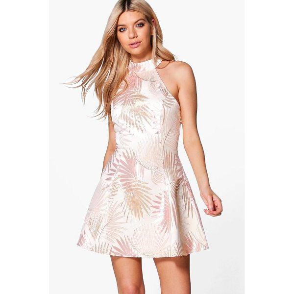 BOOHOO Boutique Dora Metallic Jacquard Skater Dress - Dresses are the most-wanted wardrobe item for day-to-night...