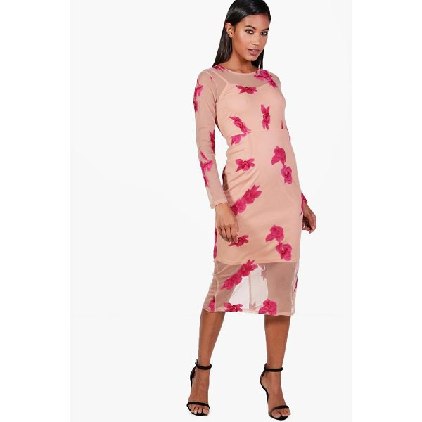 BOOHOO Boutique Eliza Embroidered Mesh Midi Dress - Dresses are the most-wanted wardrobe item for day-to-night...