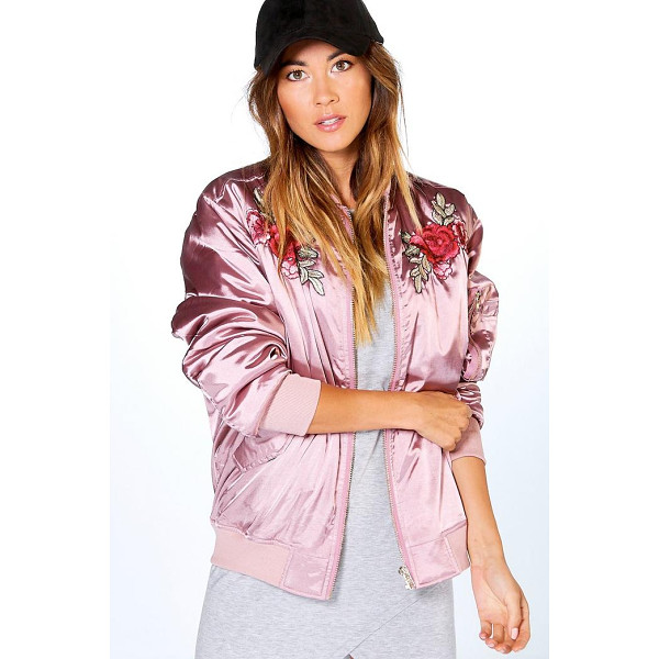 BOOHOO Boutique Ella Rose Embroidered Bomber - Wrap up in the latest coats and jackets and get out-there...