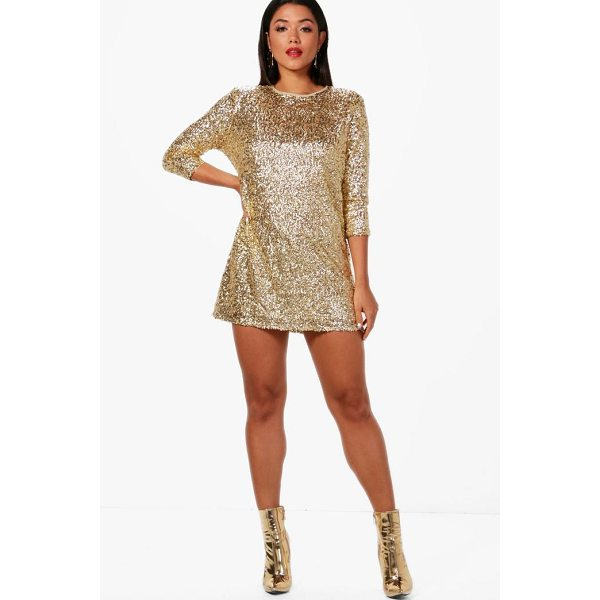 BOOHOO Boutique Ellie Sequin Long Sleeve Shift Dress - Dresses are the most-wanted wardrobe item for day-to-night...