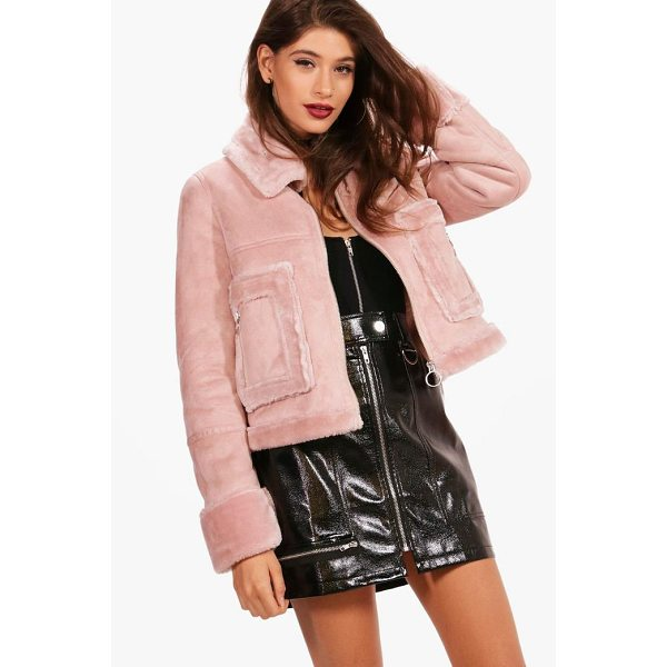BOOHOO Boutique Emma Faux Fur Pocket Aviator Jacket - Wrap up in the latest coats and jackets and get out-there...