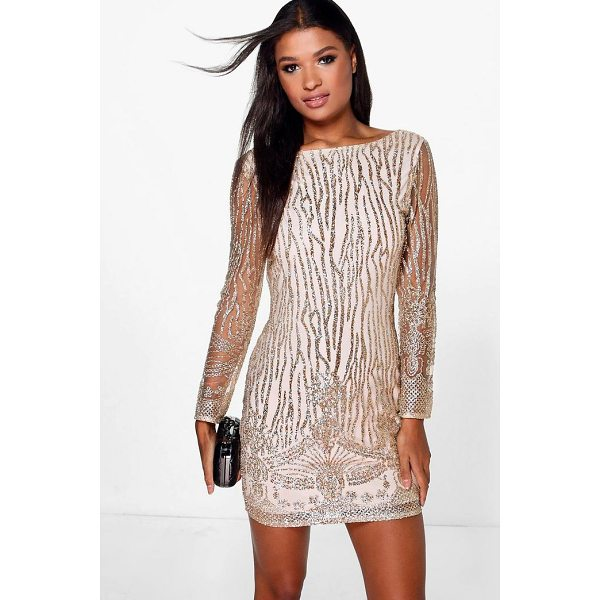 BOOHOO Boutique Faye Sequin Print Bodycon Dress - Dresses are the most-wanted wardrobe item for day-to-night...