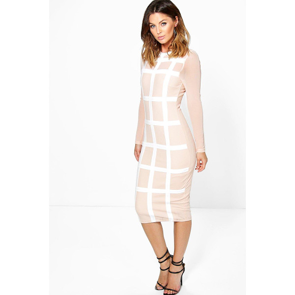 BOOHOO Boutique Gia Grid Mesh Bodycon Midi Dress - Get dance floor-ready in an entrance-making evening dress.
