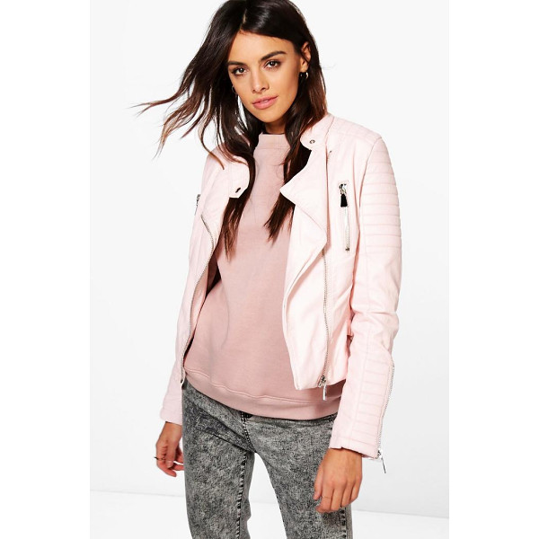 BOOHOO Boutique Harriet Leather Look Quilted Biker Jacket - Wrap up in the latest coats and jackets and get out-there...
