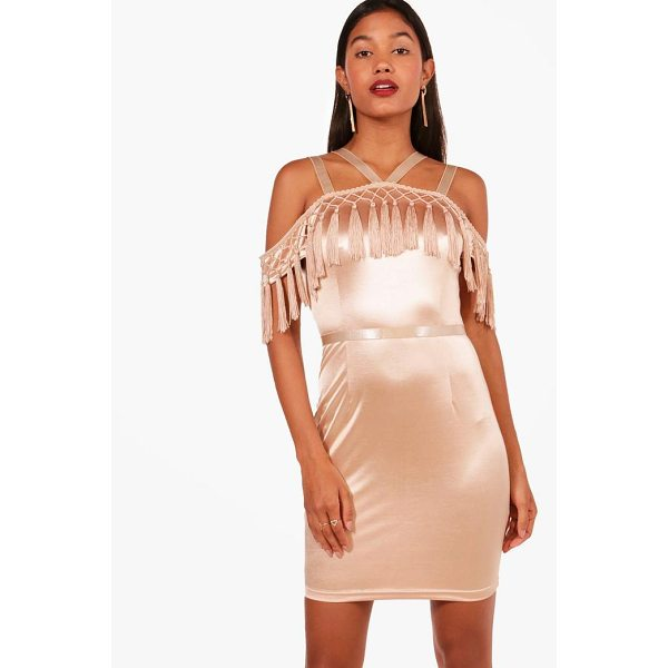 BOOHOO Boutique Hefe Tassel Bodycon Dress - Dresses are the most-wanted wardrobe item for day-to-night...