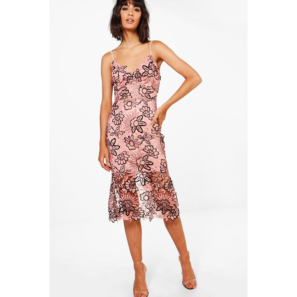 BOOHOO Boutique Isa Floral Lace Back Midi Dress - Boutique Isa Floral Lace Back Midi Dress blush