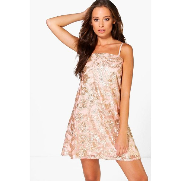 BOOHOO Boutique Janey Sequin Embroidered Shift Dress - Dresses are the most-wanted wardrobe item for day-to-night...