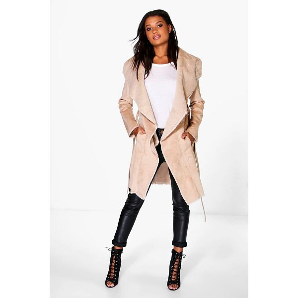 BOOHOO Boutique Katie Bonded Faux Fur Suedette Belted Coat - Wrap up in the latest coats and jackets and get out-there...