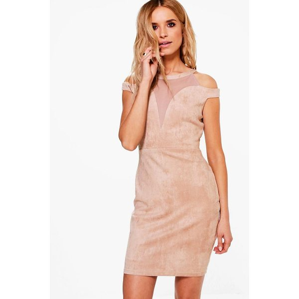 BOOHOO Boutique Keira Suedette Mesh Bodycon Dress - Dresses are the most-wanted wardrobe item for day-to-night...