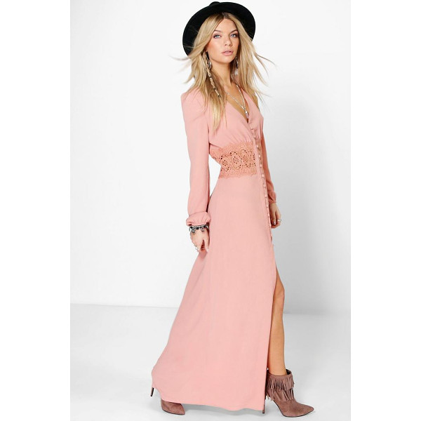 BOOHOO Boutique Kia Lace Waist Button Maxi Dress - Pared back day dresses are the perfect base for layering up...