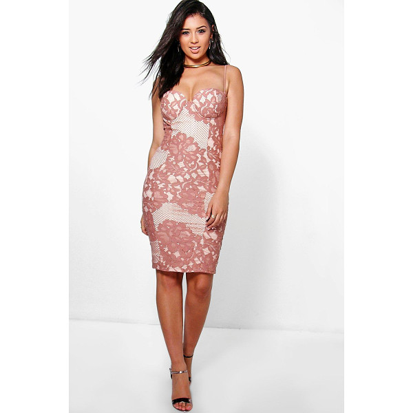 BOOHOO Boutique Kyra Lace Bustier Detail Midi Dress - Get dance floor-ready in an entrance-making evening...