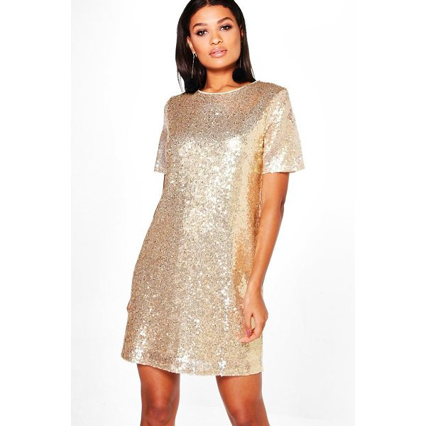 BOOHOO Boutique Lacey Sequin T-Shirt Dress - Dresses are the most-wanted wardrobe item for day-to-night...