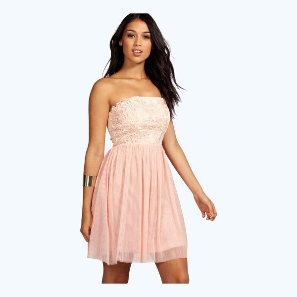 BOOHOO Boutique Lana Corded Bandeau Prom Dress - Get dance floor-ready in an entrance-making evening...