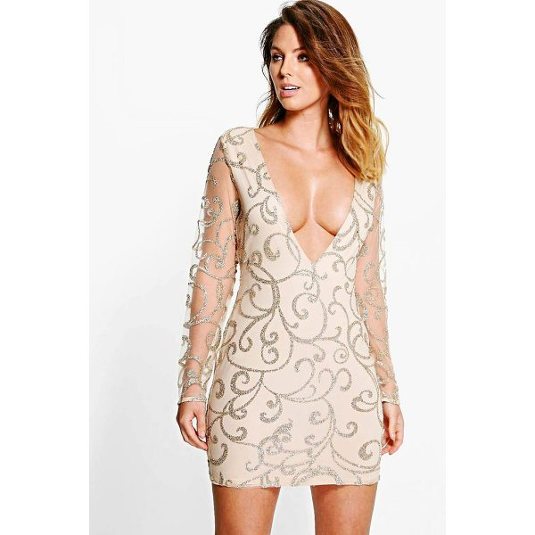 BOOHOO Boutique Lia Sequin Print Plunge Bodycon Dress - Dresses are the most-wanted wardrobe item for day-to-night...