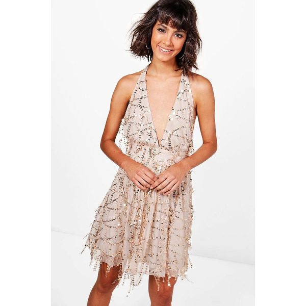BOOHOO Boutique Lil Sequin Halterneck Skater Dress - Dresses are the most-wanted wardrobe item for day-to-night...