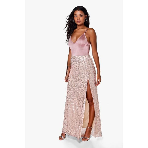 BOOHOO Boutique Lola Thigh Split Sequin Maxi Skirt - Skirts are the statement separate in every wardrobe This...