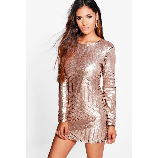 BOOHOO Boutique Luci Sequin Mesh Bodycon Dress - Dresses are the most-wanted wardrobe item for day-to-night...