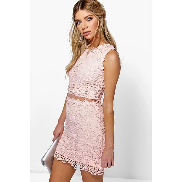 BOOHOO Boutique Lucy Lace Double Layer Bodycon Dress - Get dance floor-ready in an entrance-making evening dress....