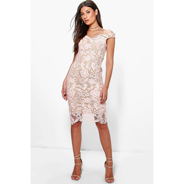 BOOHOO Boutique Marcie Lace Off Shoulder Midi Dress - Dresses are the most-wanted wardrobe item for day-to-night...