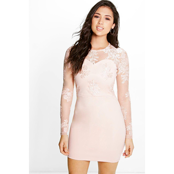 BOOHOO Boutique Mel Corded Lace Long Sleeve Bodycon Dress - Get dance floor-ready in an entrance-making evening...