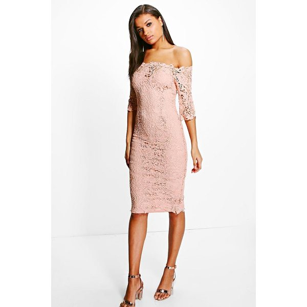 BOOHOO Boutique Mi Crochet Off Shoulder Midi Dress - Be seriously on trend this season with your hem line and...
