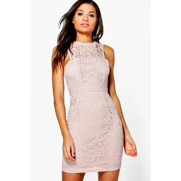 BOOHOO Boutique Mia Lace Racer Neck Bodycon Dress - Dresses are the most-wanted wardrobe item for day-to-night...
