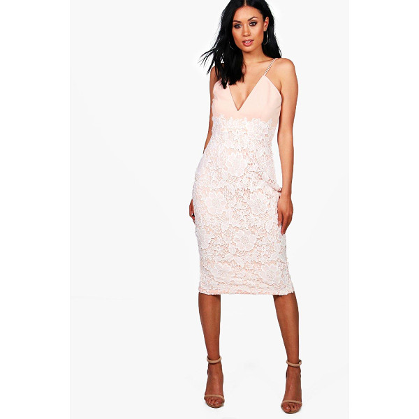 BOOHOO Boutique Millie Lace Skirt Strappy Midi Dress - Boutique Millie Lace Skirt Strappy Midi Dress blush