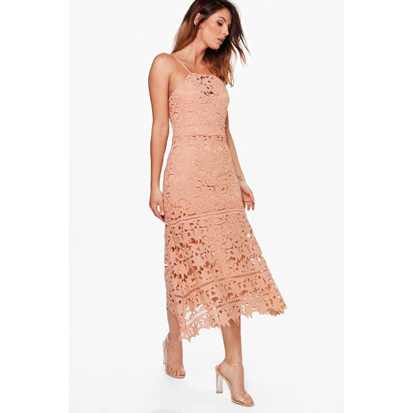 BOOHOO Boutique Mimi Lace Strappy Midi Dress - Boutique Mimi Lace Strappy Midi Dress peach