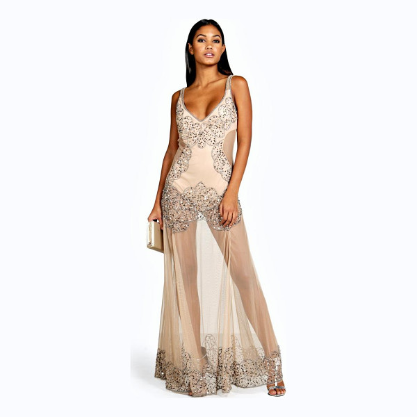 BOOHOO Boutique Naty Embellished Placement Maxi Dress - Full-on fashion starts with a floor-sweeping maxi dressMove...