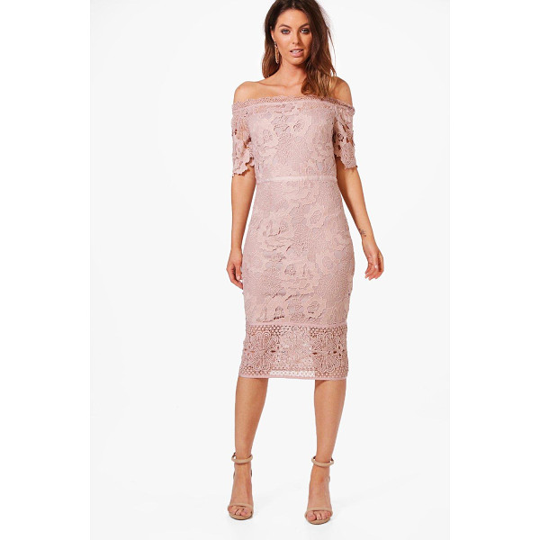 BOOHOO Boutique Nikka Off Shoulder Lace Midi Dress - Dresses are the most-wanted wardrobe item for day-to-night...